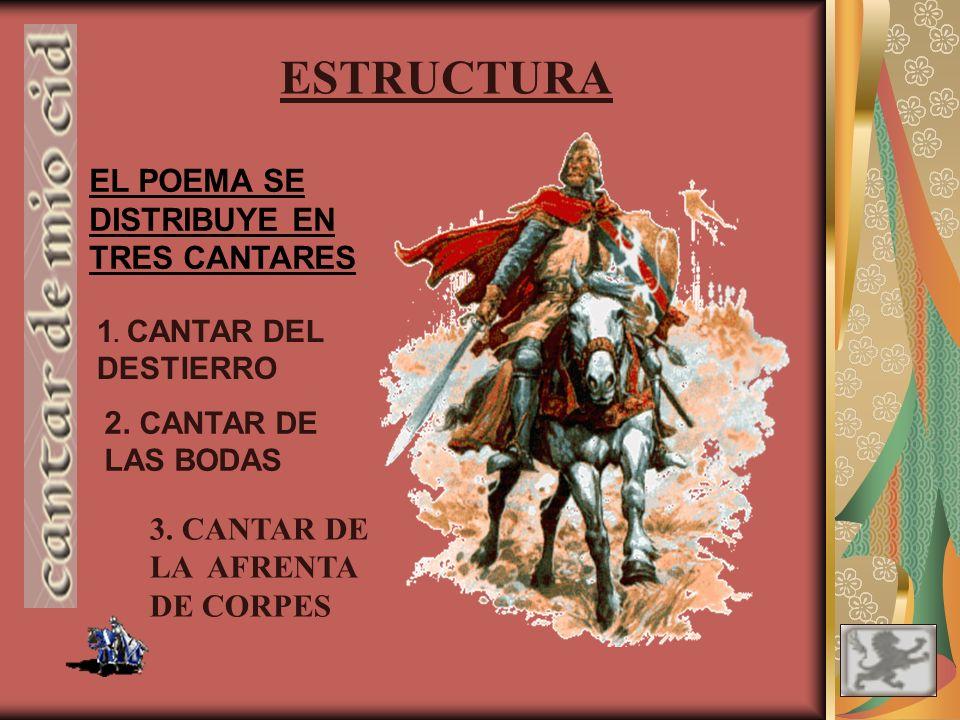 ESTRUCTURA EL POEMA SE DISTRIBUYE EN TRES CANTARES