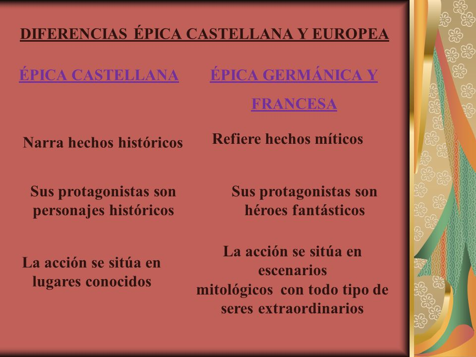 DIFERENCIAS ÉPICA CASTELLANA Y EUROPEA