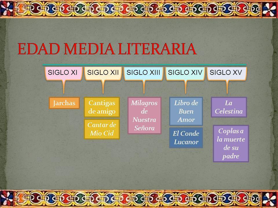 EDAD MEDIA LITERARIA SIGLO XI SIGLO XII SIGLO XIII SIGLO XIV SIGLO XV