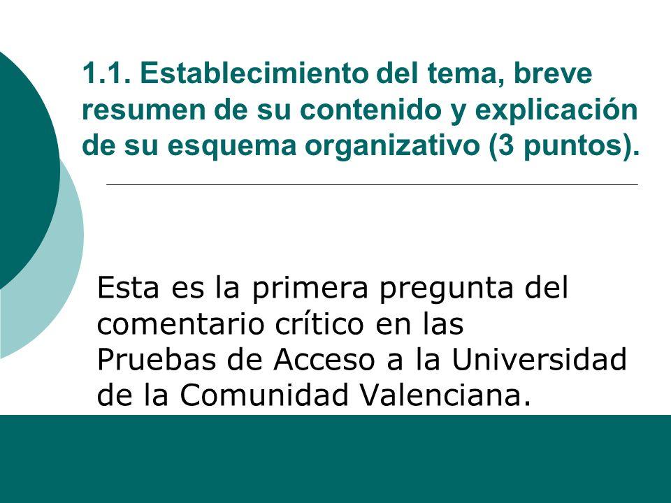 1.1. Establecimiento del tema, breve resumen de su contenido y explicación de su esquema organizativo (3 puntos).
