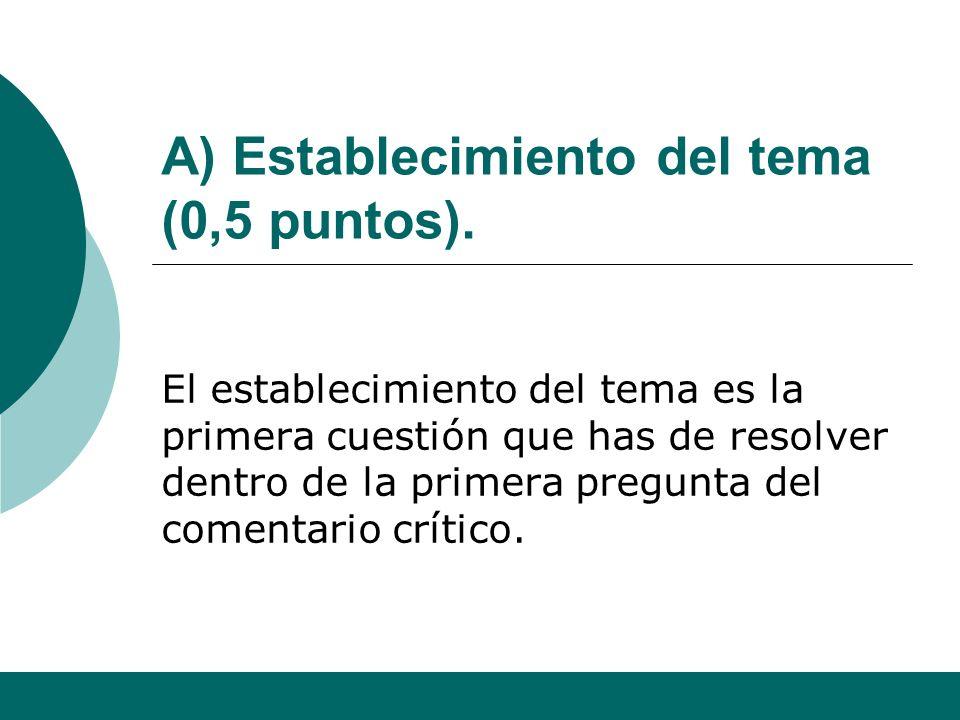 A) Establecimiento del tema (0,5 puntos).