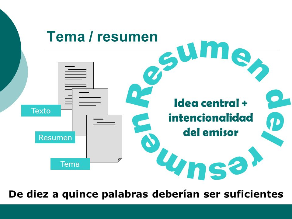 Tema / resumen Resumen del resumen