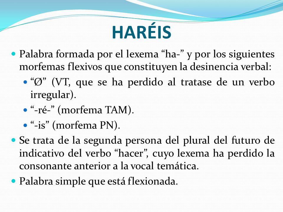 HARÉISPalabra formada por el lexema ha- y por los siguientes morfemas flexivos que constituyen la desinencia verbal: