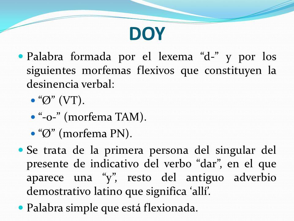 DOY Palabra formada por el lexema d- y por los siguientes morfemas flexivos que constituyen la desinencia verbal: