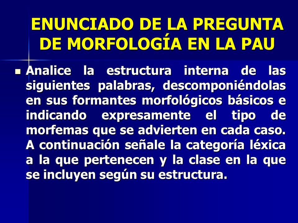 ENUNCIADO DE LA PREGUNTA DE MORFOLOGÍA EN LA PAU