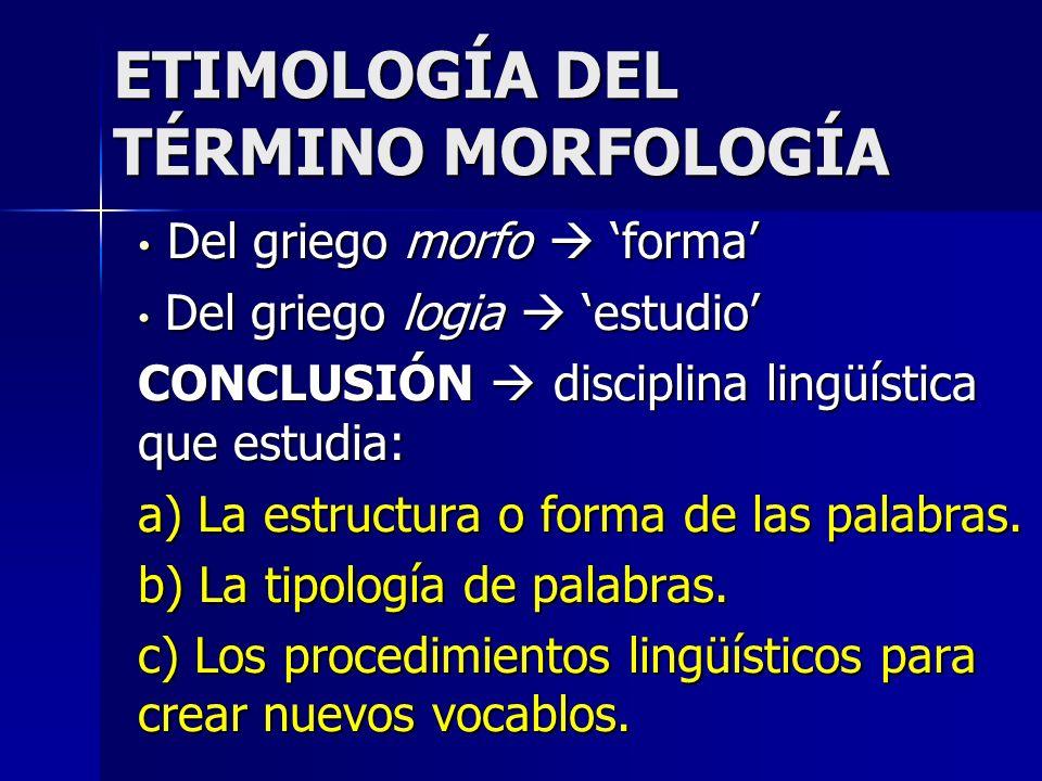 ETIMOLOGÍA DEL TÉRMINO MORFOLOGÍA