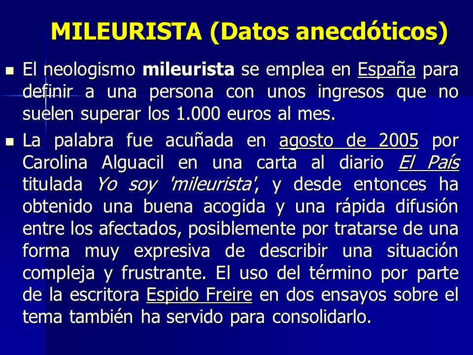 MILEURISTA (Datos anecdóticos)