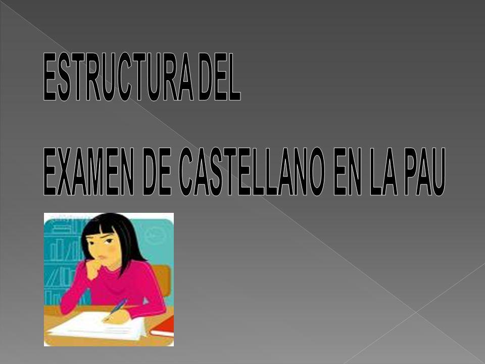 ESTRUCTURA DEL EXAMEN DE CASTELLANO EN LA PAU