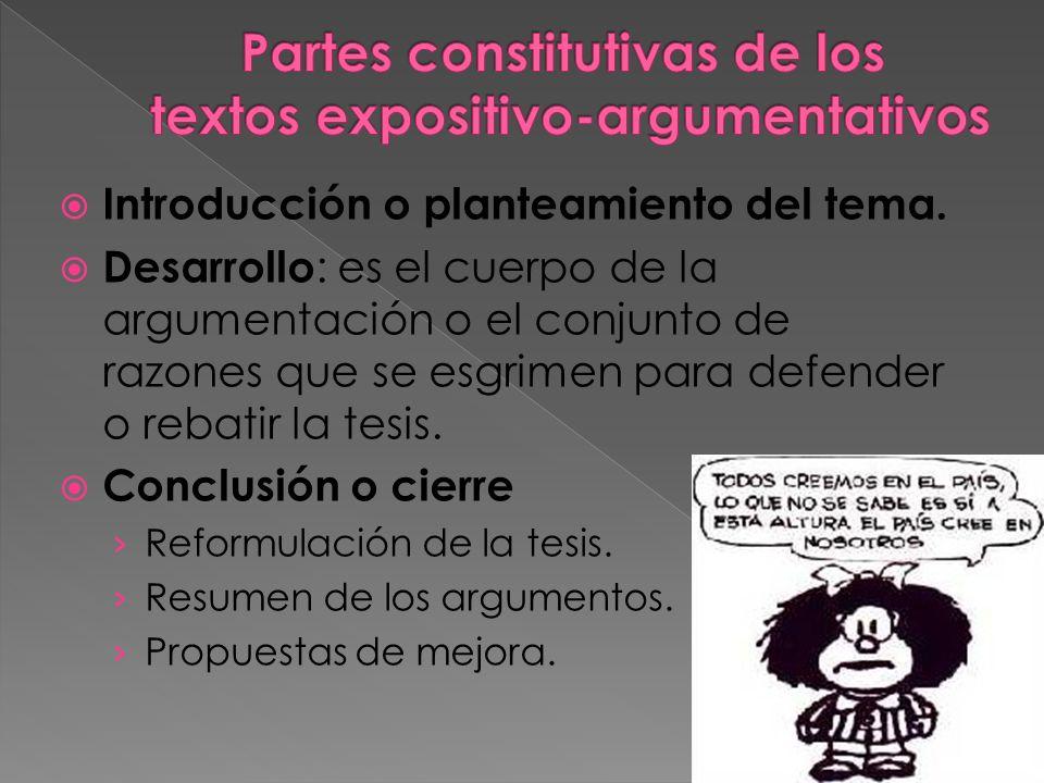 Partes constitutivas de los textos expositivo-argumentativos