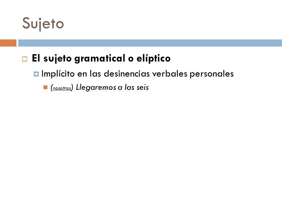 Sujeto El sujeto gramatical o elíptico