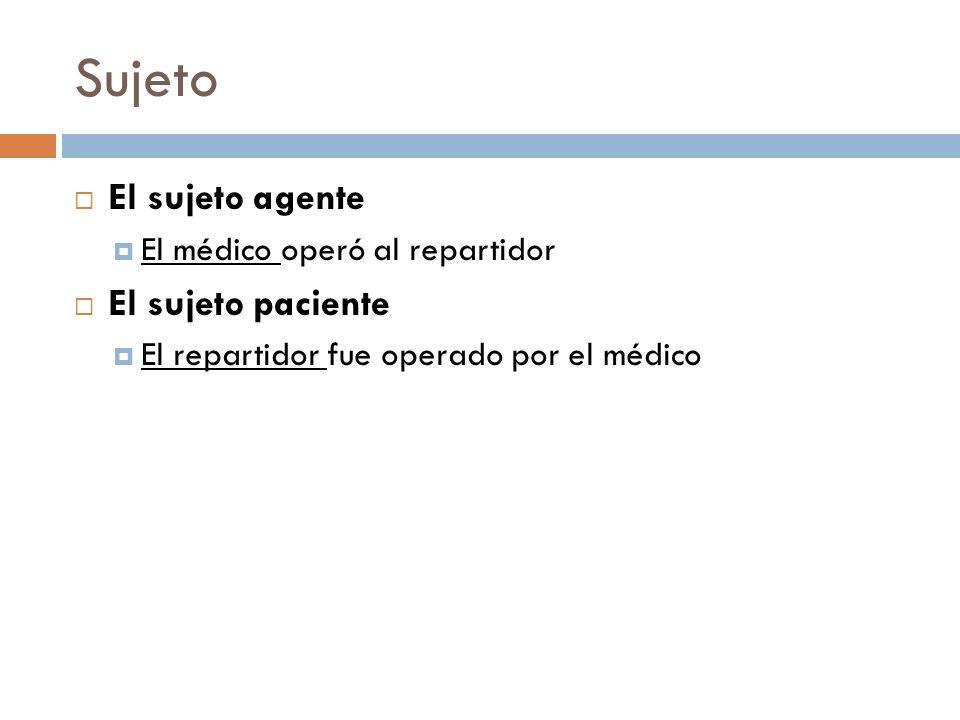 Sujeto El sujeto agente El sujeto paciente