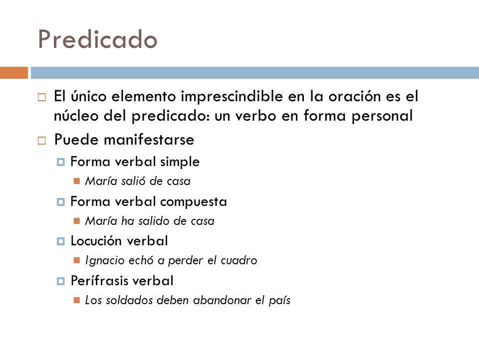PredicadoEl único elemento imprescindible en la oración es el núcleo del predicado: un verbo en forma personal.