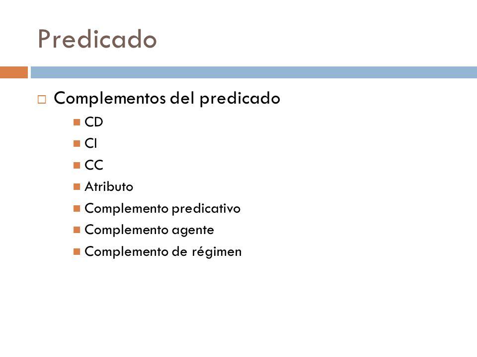 Predicado Complementos del predicado CD CI CC Atributo