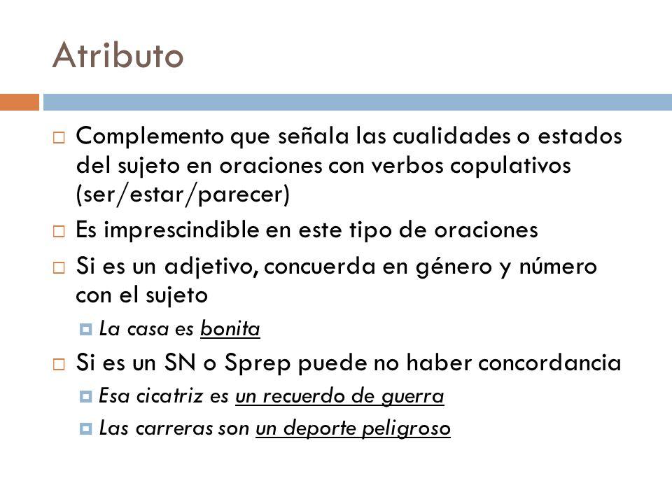 Atributo Complemento que señala las cualidades o estados del sujeto en oraciones con verbos copulativos (ser/estar/parecer)