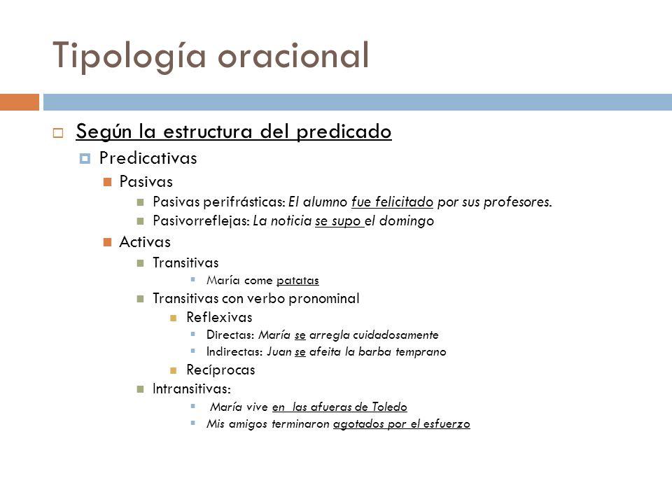 Tipología oracional Según la estructura del predicado Predicativas