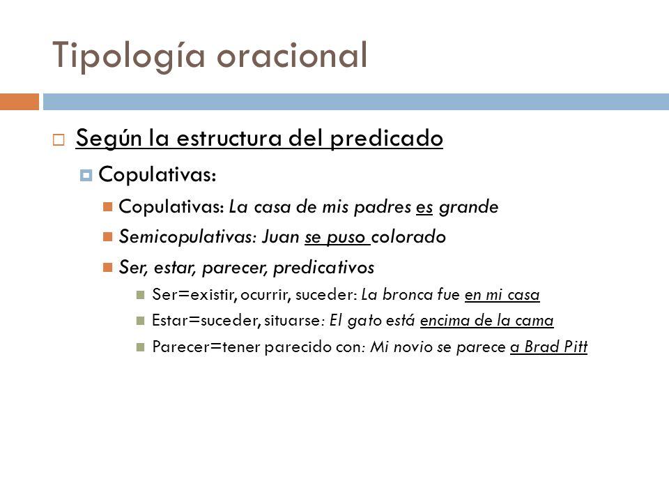 Tipología oracional Según la estructura del predicado Copulativas: