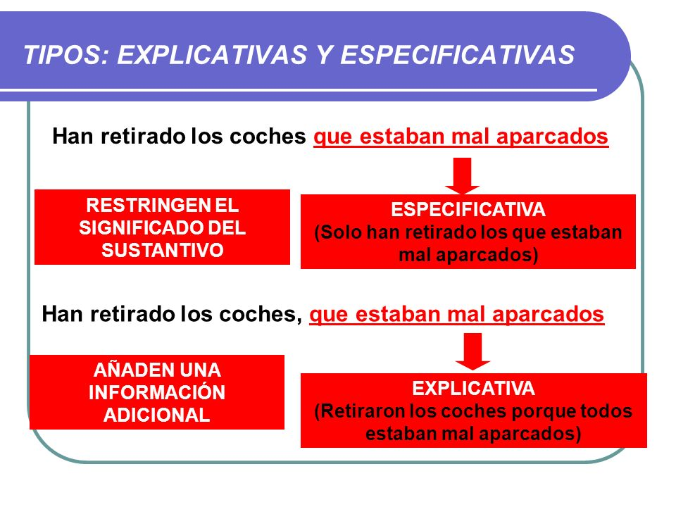 TIPOS: EXPLICATIVAS Y ESPECIFICATIVAS