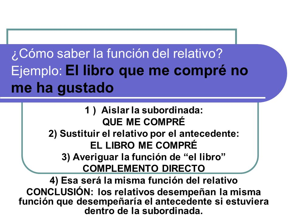 ¿Cómo saber la función del relativo