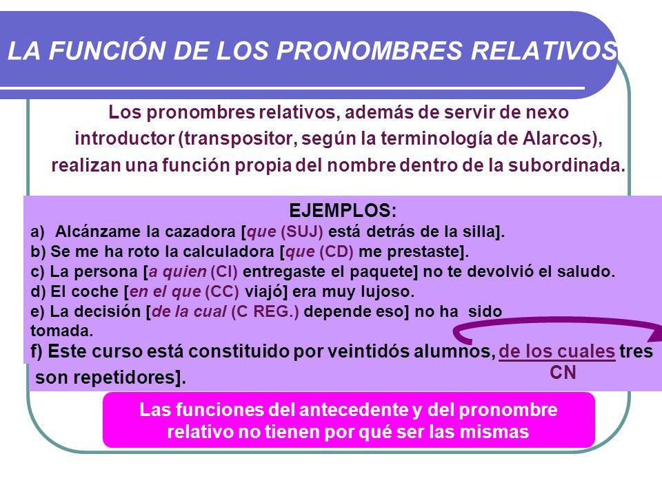 LA FUNCIÓN DE LOS PRONOMBRES RELATIVOS