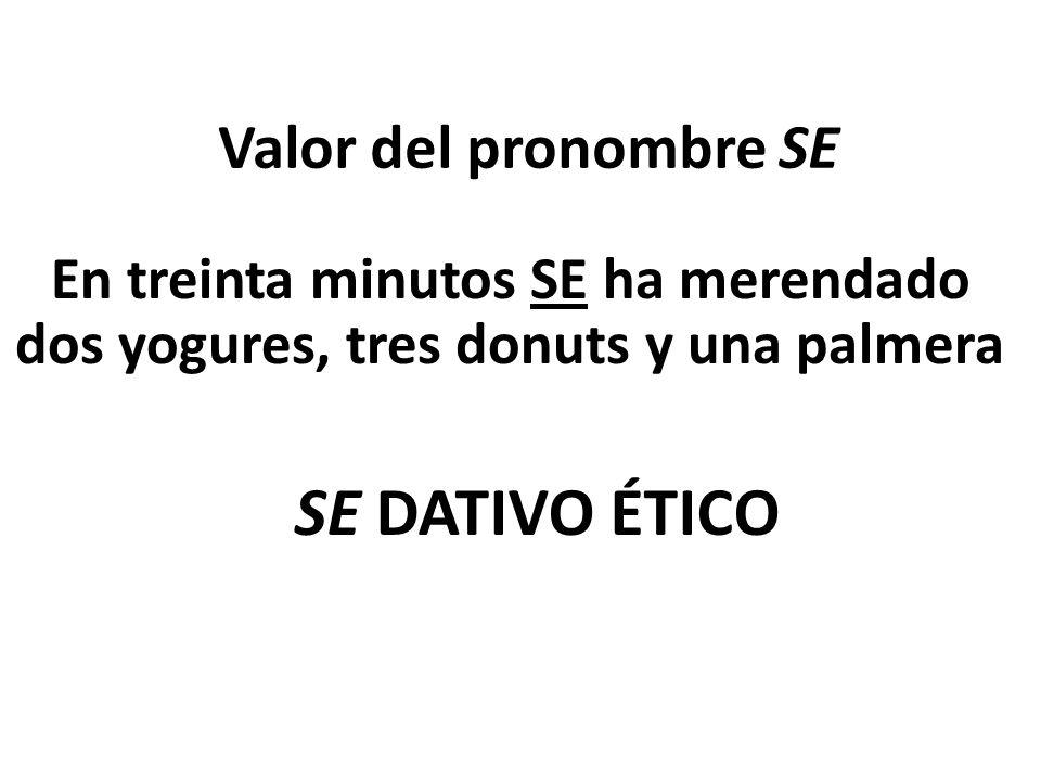 SE DATIVO ÉTICO Valor del pronombre SE