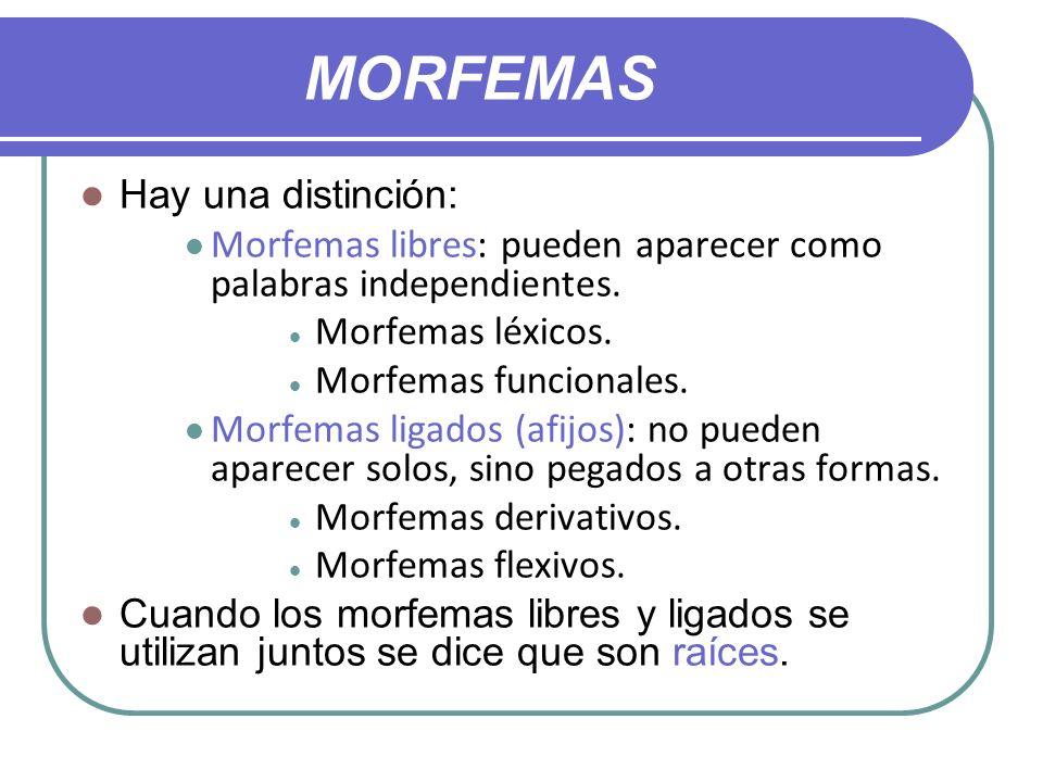 MORFEMAS Hay una distinción: