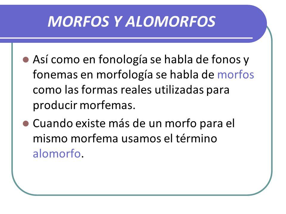 MORFOS Y ALOMORFOS