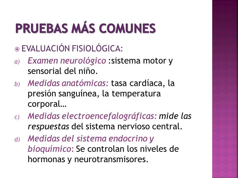 PRUEBAS MÁS COMUNES EVALUACIÓN FISIOLÓGICA: