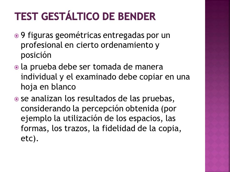 test gestáltico de bender