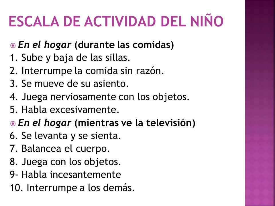 ESCALA DE ACTIVIDAD DEL NIÑO