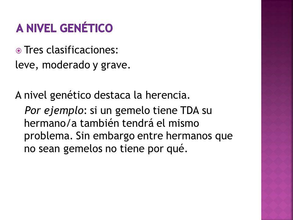 a nivel genético Tres clasificaciones: leve, moderado y grave.