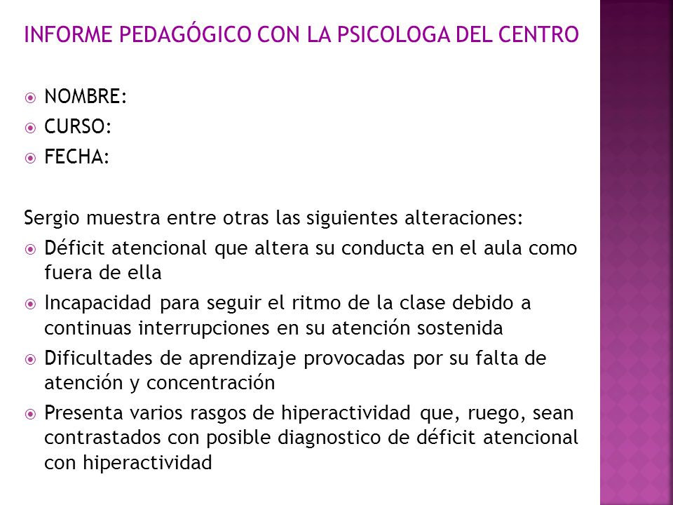 INFORME PEDAGÓGICO CON LA PSICOLOGA DEL CENTRO