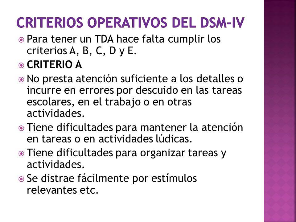 Criterios operativos del DSM-IV