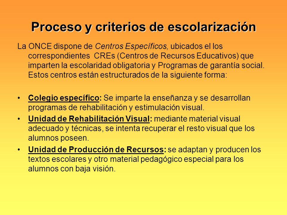 Proceso y criterios de escolarización