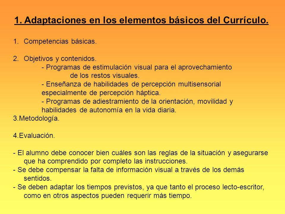 1. Adaptaciones en los elementos básicos del Currículo.