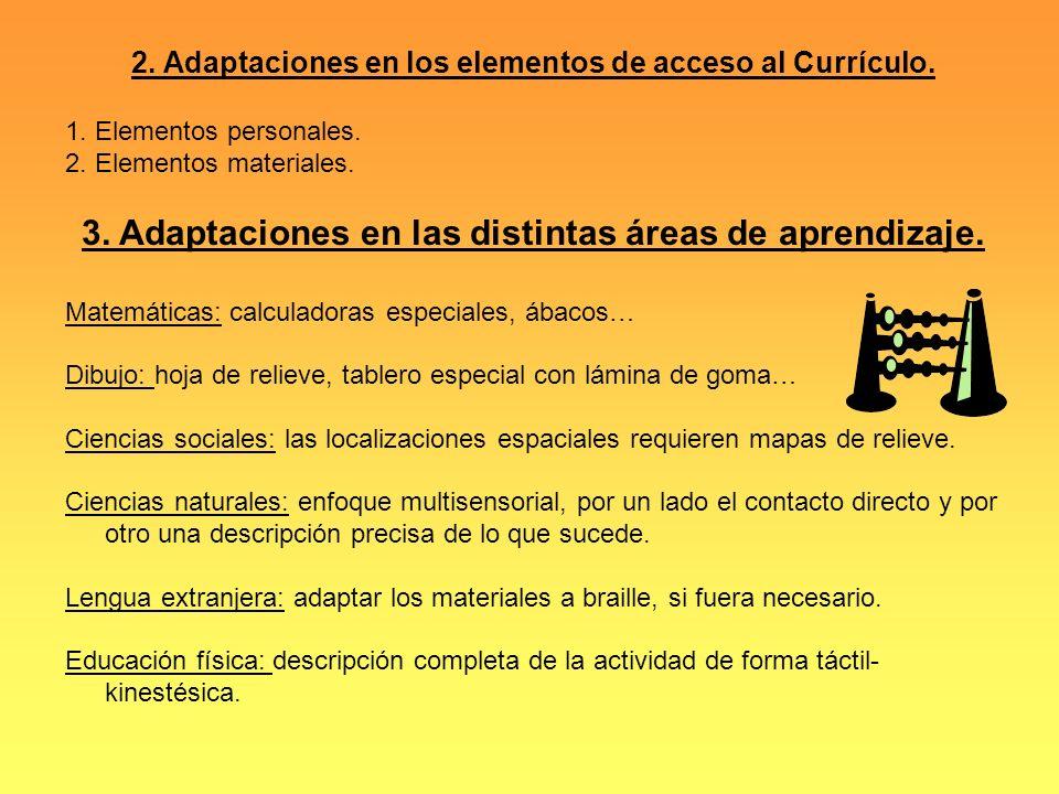 3. Adaptaciones en las distintas áreas de aprendizaje.