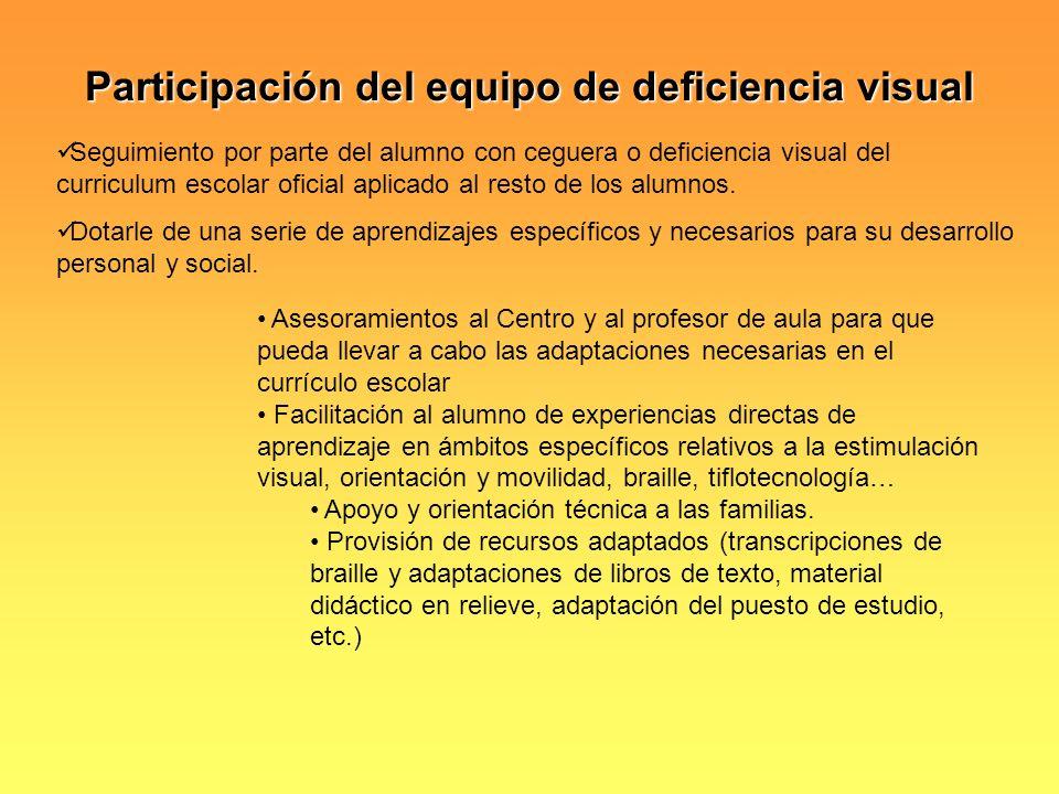 Participación del equipo de deficiencia visual