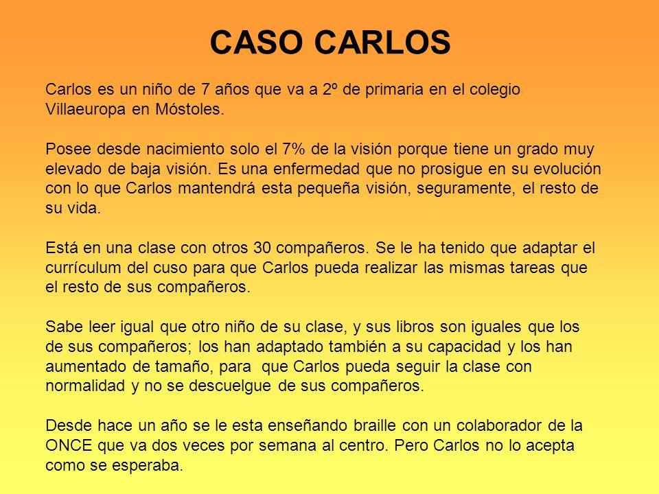 CASO CARLOS Carlos es un niño de 7 años que va a 2º de primaria en el colegio Villaeuropa en Móstoles.