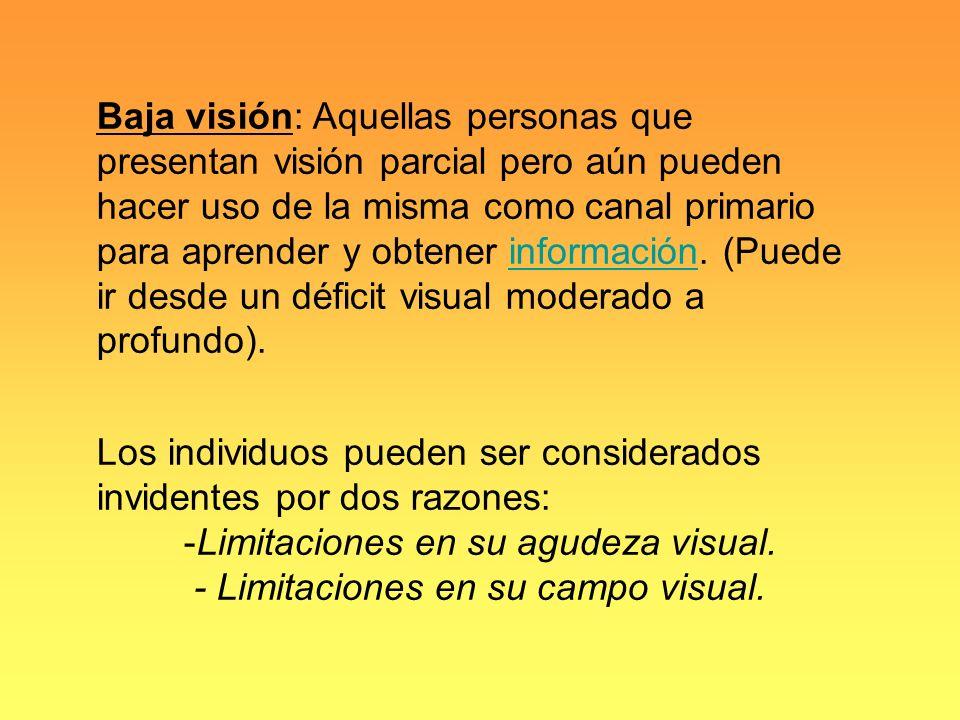 Los individuos pueden ser considerados invidentes por dos razones: