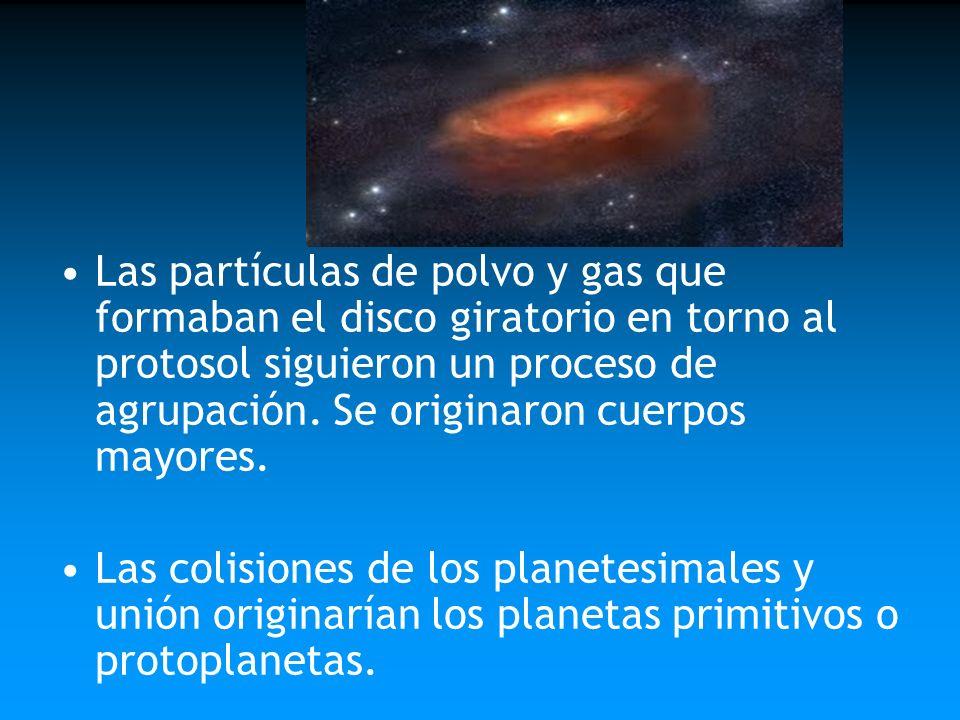 Las partículas de polvo y gas que formaban el disco giratorio en torno al protosol siguieron un proceso de agrupación. Se originaron cuerpos mayores.