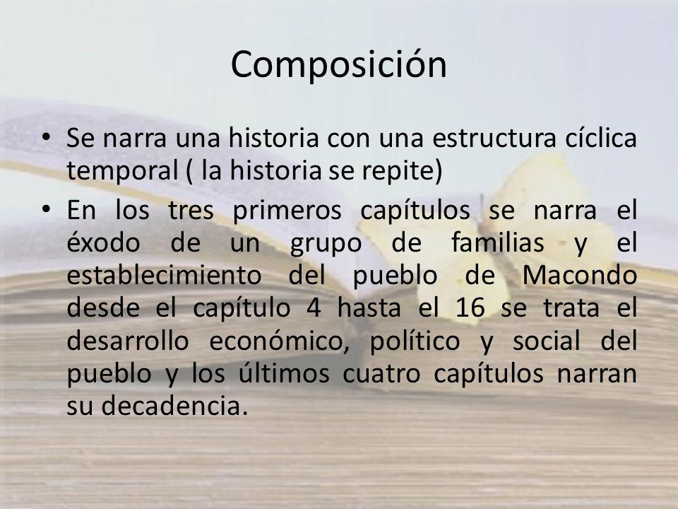 Composición Se narra una historia con una estructura cíclica temporal ( la historia se repite)