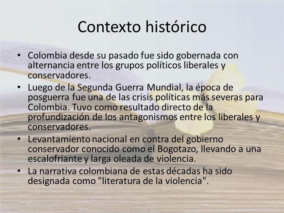 Contexto histórico Colombia desde su pasado fue sido gobernada con alternancia entre los grupos políticos liberales y conservadores.