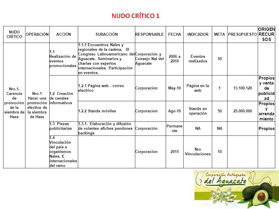 NUDO CRÍTICO 1 ORIGEN RECURSOS Propios y venta de publicidad