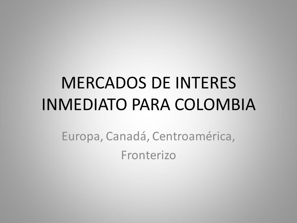 MERCADOS DE INTERES INMEDIATO PARA COLOMBIA