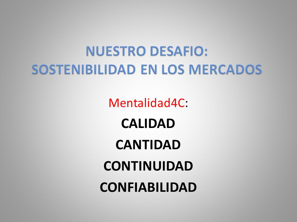 NUESTRO DESAFIO: SOSTENIBILIDAD EN LOS MERCADOS