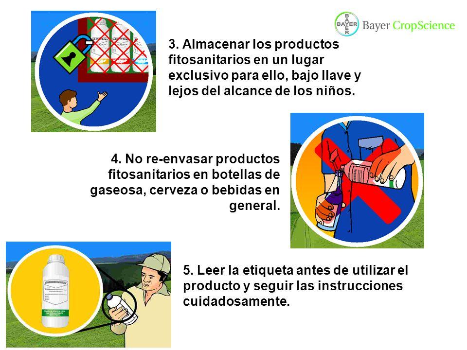 3. Almacenar los productos fitosanitarios en un lugar exclusivo para ello, bajo llave y lejos del alcance de los niños.