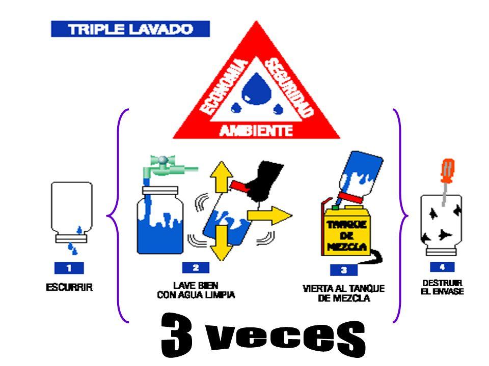 3 veces 3 veces. 12. Una vez terminado el contenido del envase realizar el triple lavado y perforar el envase para evitar su reutilización.