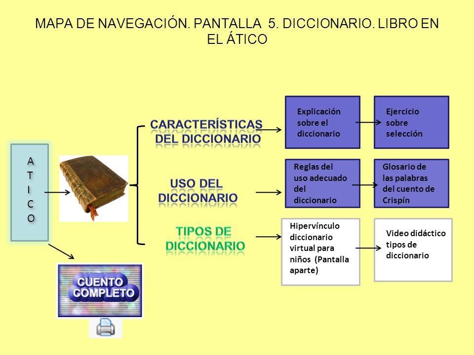 MAPA DE NAVEGACIÓN. PANTALLA 5. DICCIONARIO. LIBRO EN EL ÁTICO