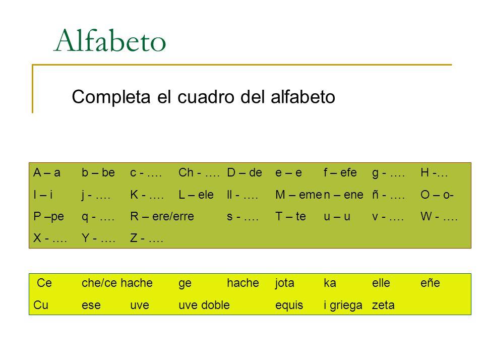 Completa el cuadro del alfabeto