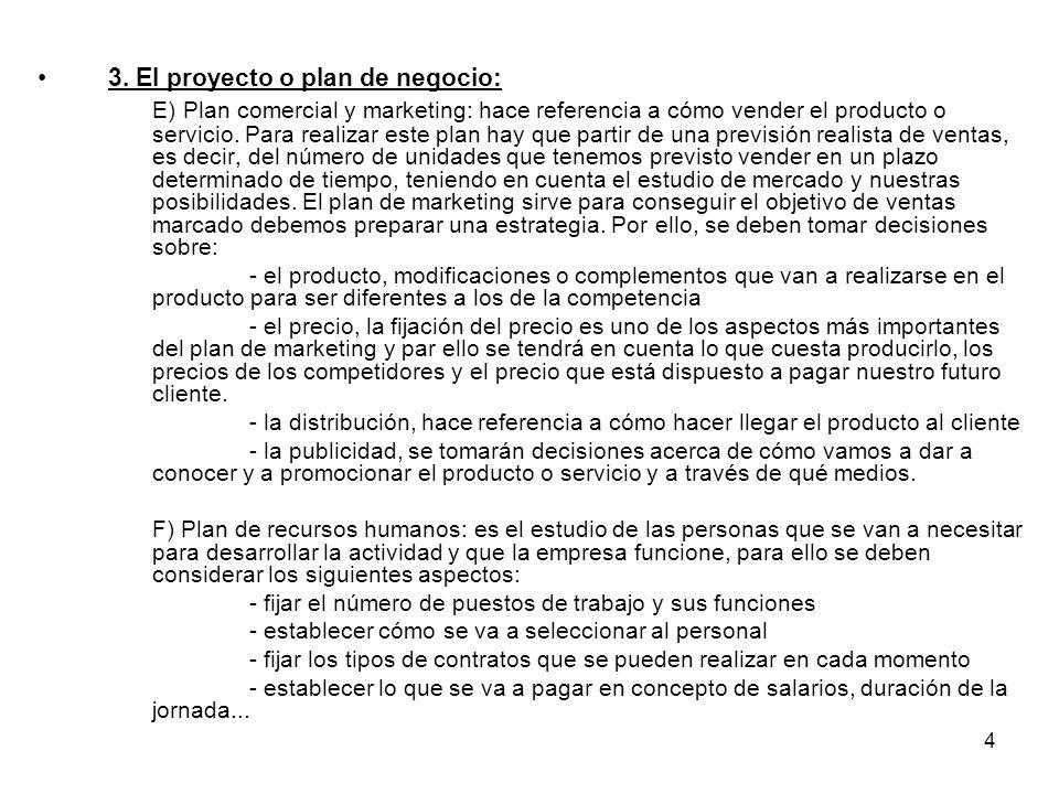 3. El proyecto o plan de negocio: