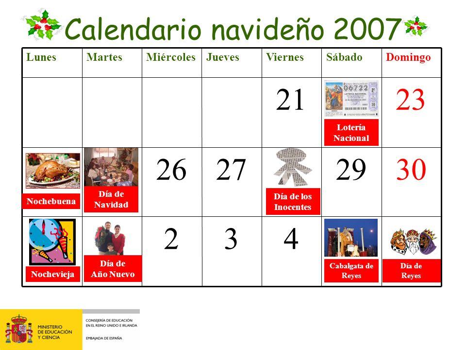 Calendario navideño 2007 Lunes. Martes. Miércoles. Jueves. Viernes. Sábado. Domingo. 21. 22.